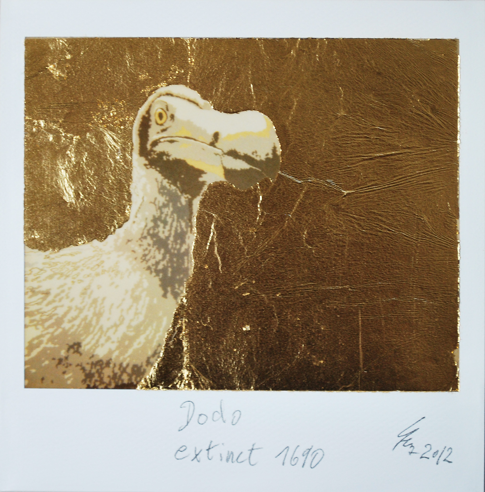 Dodo extinct 1690<span> • Polaroid, Blattgold 23 Karat, 2012</span>